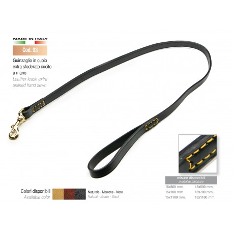 LEATHER LEASH EXTRA UNLINED HAND SEWN