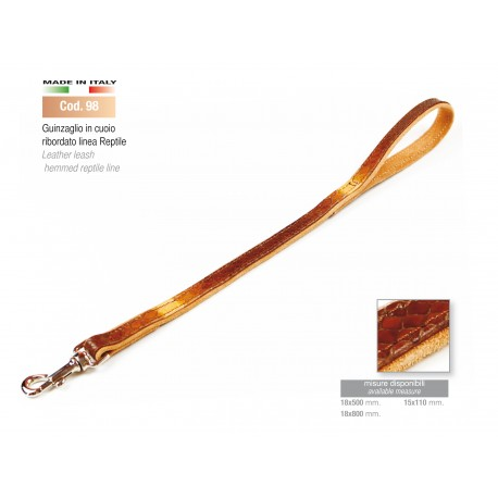 LEATHER LEASH HEMMED REPTILE LINE