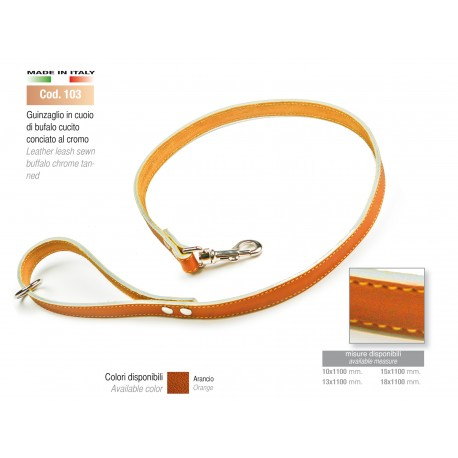 LEATHER LEASH SEWN BUFFALO CHROME TANNED